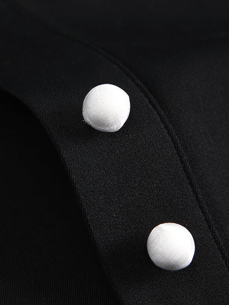 Dolly Collar Front Button Little Black Dress