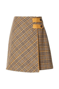 Glen Plaid Houndstooth A-Line Skirt