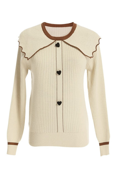 Ruffle Collar Heart Button Sweater