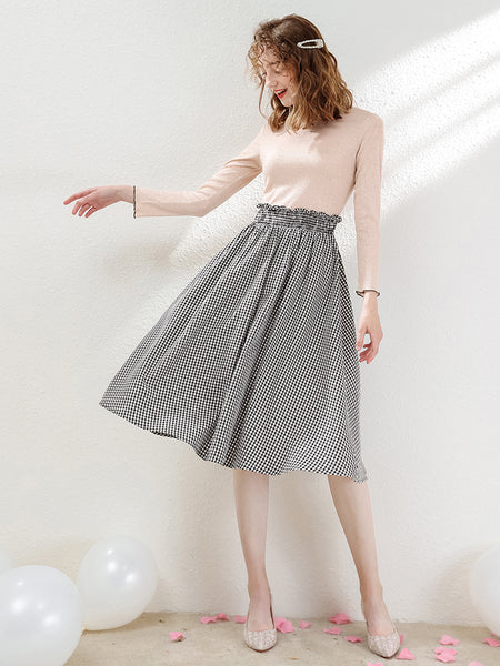 Knit Top Gingham Skirt False Two Dress