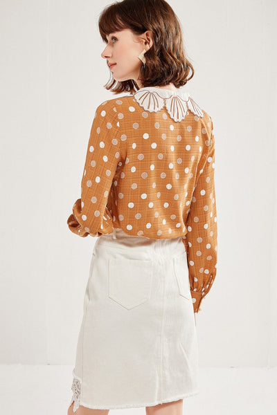 Sea Shell Embroidery Polka Dots Shirt