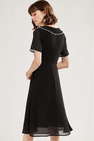 Lace Dolly Collar Polka Dots Dress