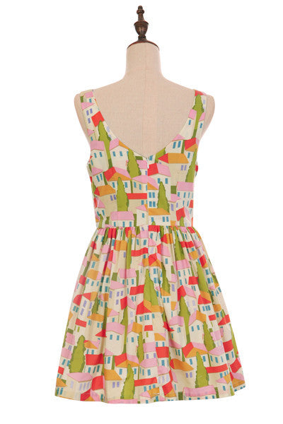 Peaceful Town in Fairy Tale Cute Retro Sundress