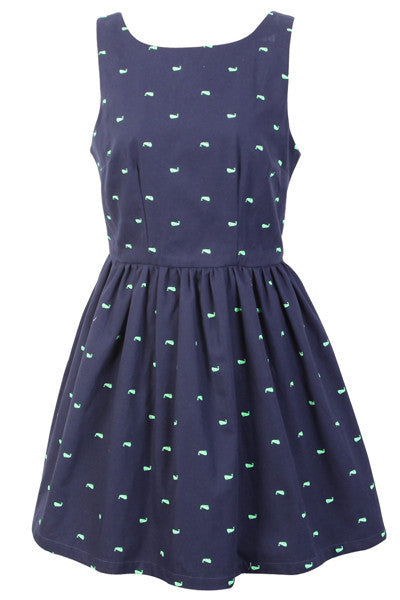 【Almost Gone】Deep Ocean Whale Cute Retro Sundress