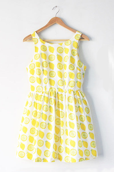 【Back in Stock】Lemon Prints Cute Retro Sundress