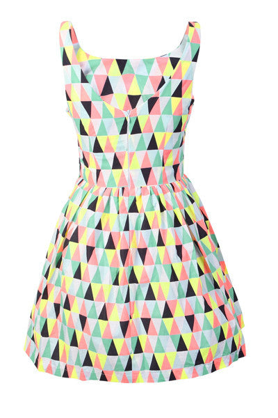 Geometric Prints Cute Retro Sundress
