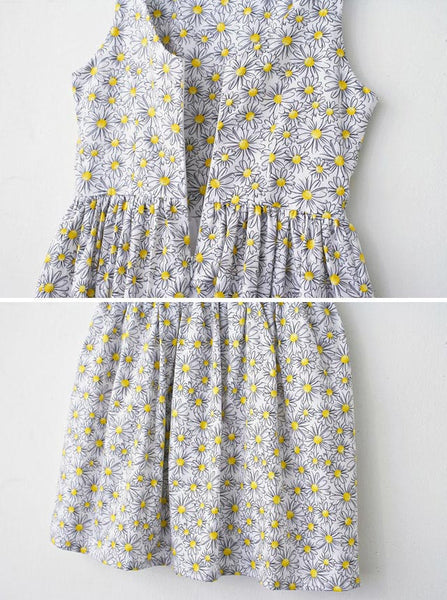 White Daisy Cute Retro Sundress