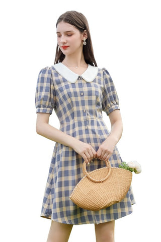 Dolly Collar Check High Waist Dress