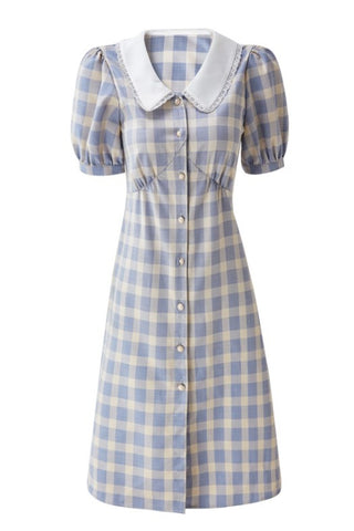 Dolly Collar Knee Length Check High Waist Dress