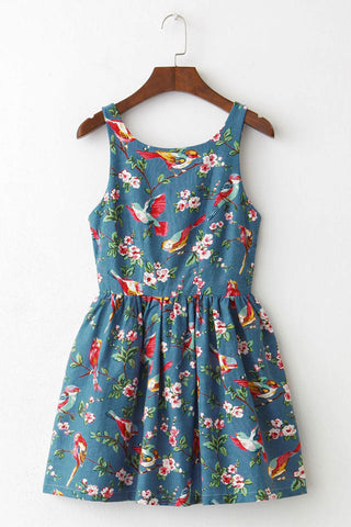 【Back in Stock】Blooming Spring Floral Bird Cute Retro Sundress