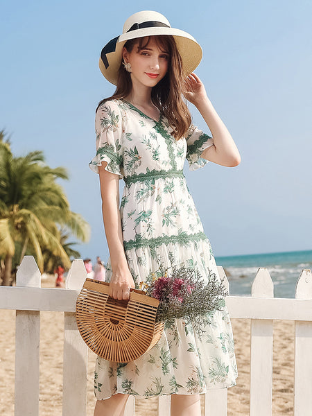 V-Neck Nature Print Tiered Dress
