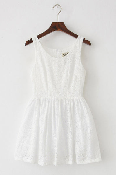 Eyelet Embroidery Cute Retro Sundress