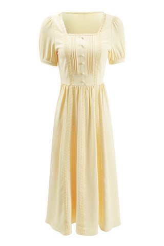 Retro Square Neck Puff Sleeve Chiffon Dress