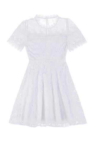 Aline White Full Lace Dress