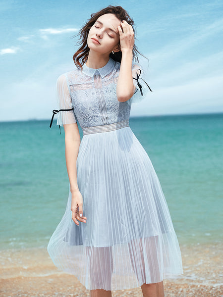 2 Colors Lace Pleat Tulle Dress