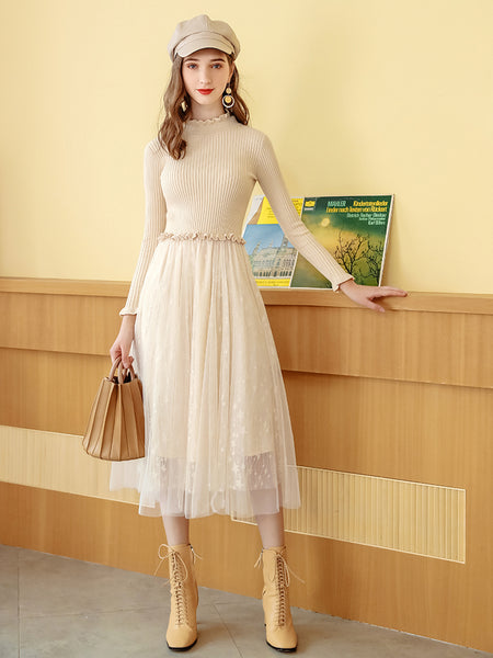 2 Colors Knit Tulle Dress