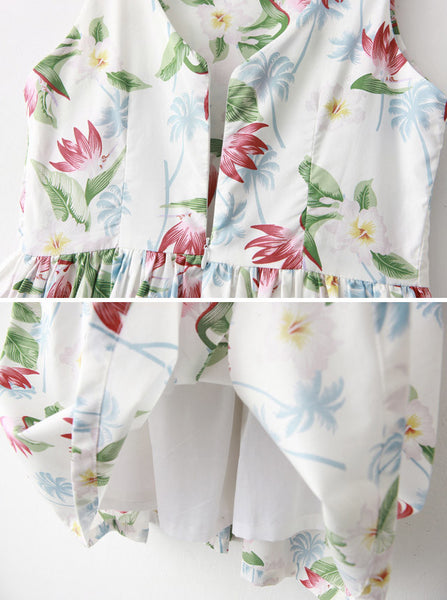 Floral Palm Tree Cute Retro Sundress