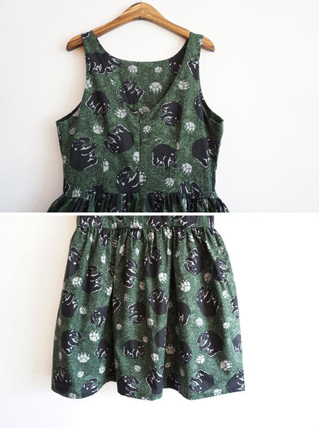 Black Bear Cute Retro Sundress