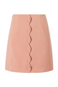 Scalloped Button Front A-Line Skirt