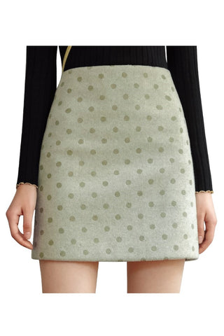 Avocado Green Polka Dots Mini Skirt