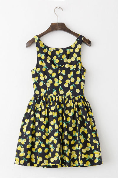 Lemon Print Black Cute Retro Sundress