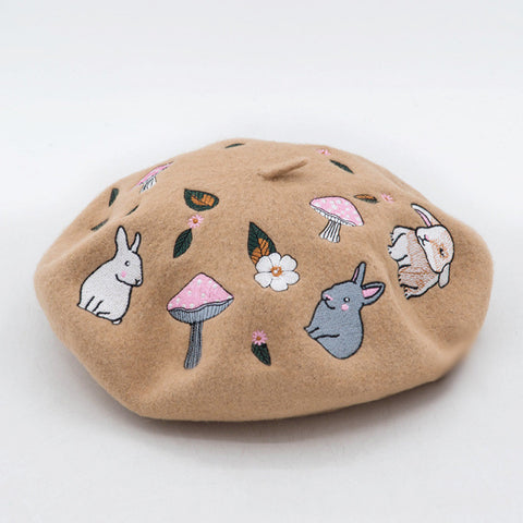 Bunny Mushroom Embroidery Wool Beret in 4 Colors