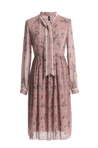 Tie Neck Check Floral Dress
