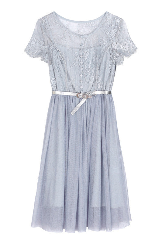 【Almost Gone】Lace See-Through Tulle Dress