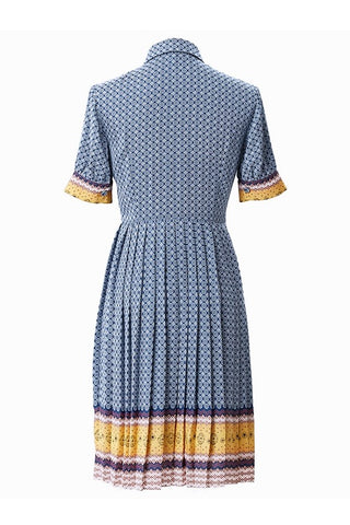 Retro Printed Tie-Neck Pleat Dress