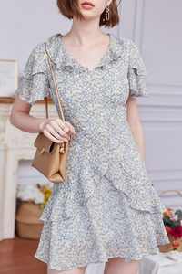 Daisy Floral Ruffle High Waist Dress