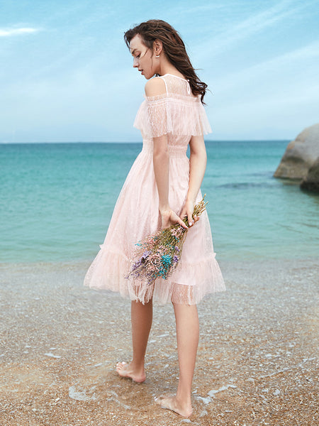 Cold Shoulder Ruffle Lace Dress
