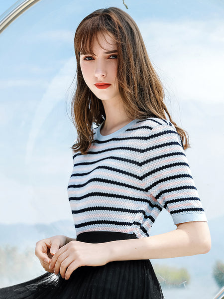 Scalloped Stripe Short Sleeve Knit Top