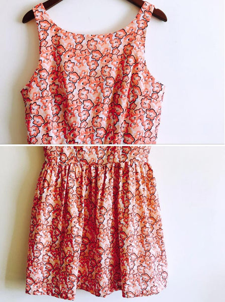 Orange Floral Print Cute Retro Sundress