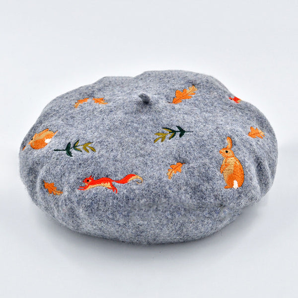 Bunny Squirrel Embroidery Wool Beret in 2 Colors