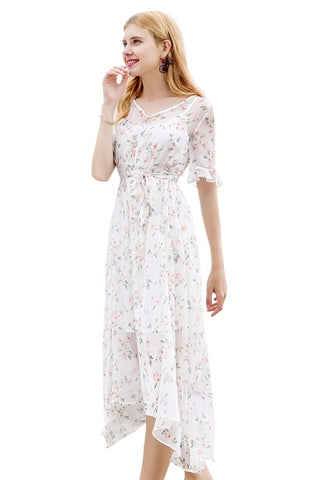 Button Front Floral Midi Dress