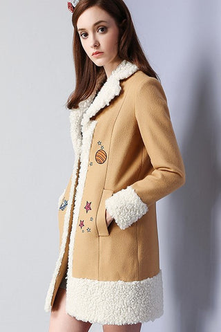 Planet Embroidery Lamb Wool Coat