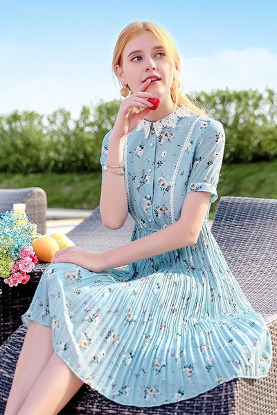 Lace Collar Floral Pleat Dress