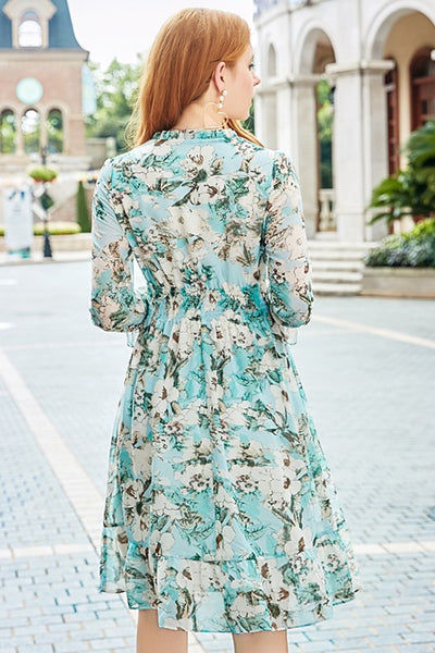 【Almost Gone】Elastic Waistband Ruffle Floral Dress