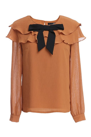 Ruffle Layer Bow Tie Blouse