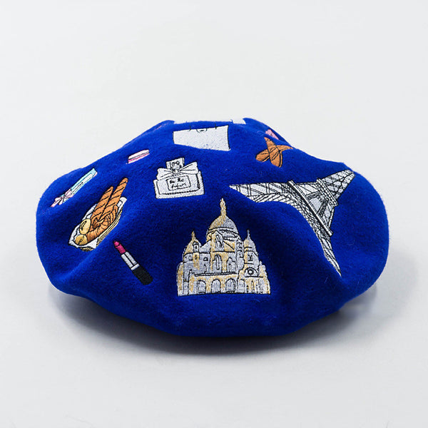 Paris Embroidery Wool Beret in 4 Colors