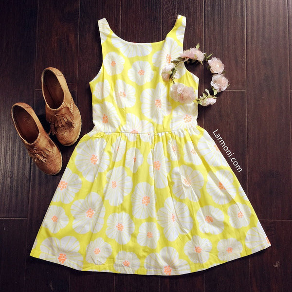 Floral Print Yellow Cute Retro Sundress