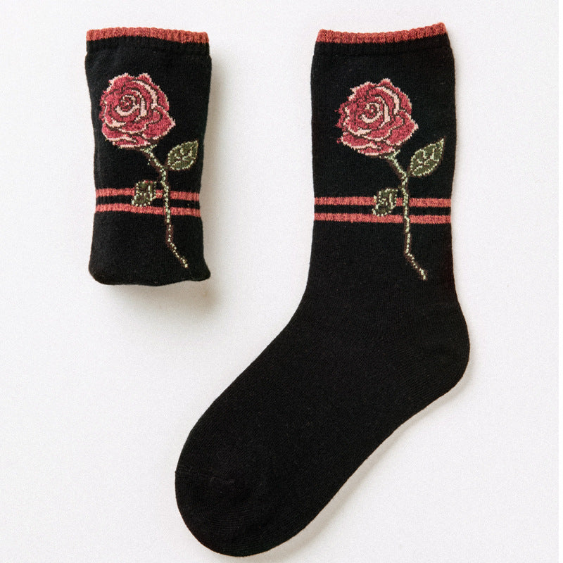 Rose Embroidery Socks