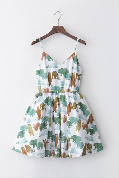 Playful Bear Strap Cute Retro Sundress