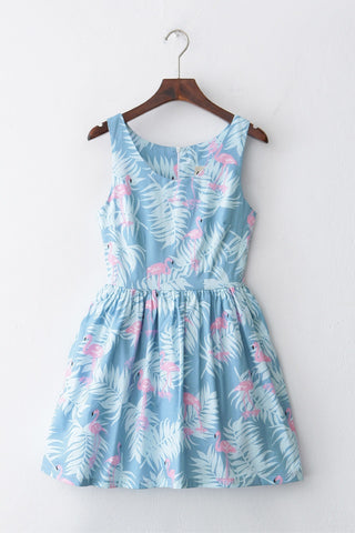 【Back in Stock】Flamingo Sky Blue Cute Retro Sundress