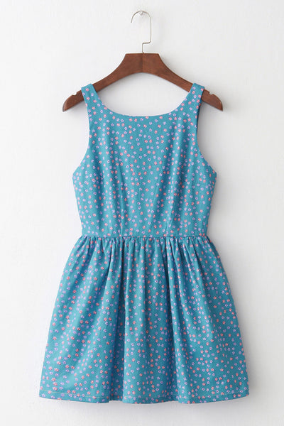 Little Floral Blue Cute Retro Sundress