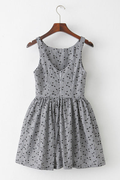 Vine Embroidery Gingham Cute Retro Sundress