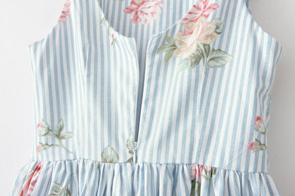 【Almost Gone】Stripe Retro Floral Cute Retro Sundress