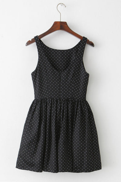【Almost Gone】Dotted Black Cute Retro Sundress