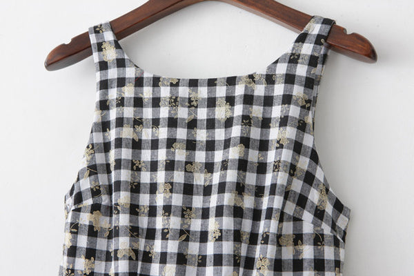 【Almost Gone】Golden Flower Gingham Cute Retro Sundress