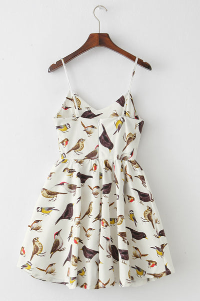 【Almost Gone】Lively Bird Strap Cute Retro Sundress